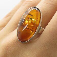 925 Sterling Silver Large Natural Amber Gemstone Ring Size 9