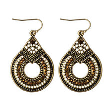 Women's Bohemian Boho Style Gold/Silver Hollow Round Carved Hook Earrings