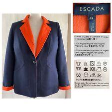ESCADA 44 US 14 Navy + Orange Brushed Alpaca + Wool double-face Jacket EUC ITALY