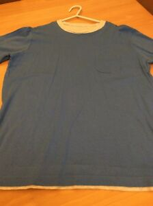 boys clothes 11-12 years Dunnes Blue Cotton Grey Trim Short Sleeved Top