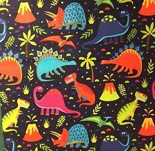 Jurassic Dinosaur 100% Cotton Childrens Fabric Material BY HALF METRE