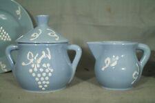 vintage HB Quimper France pottery Creamer sugarbowl  blue white grape grapevine