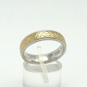 Sterling Silver 10K Gold Textured 2 Tone Milgrain Comfort Fit Wedding Band Ring