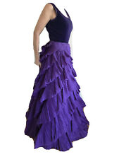 Desiner CAILAN' D Purple Pleated Tier Gown Made in Italy 42