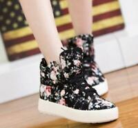 Women High Top Ankle Canvas Shoes Platform Lace Up Floral Flats Casual Sneakers
