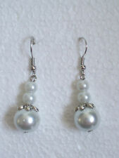 Tibetan Silver Triple Faux Pearl Clip-on Earrings - Bridesmaid