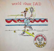80's Vintage Unworn NWT, WORLD CLASS DAD Tennis Player graphic Made USA shirt XL