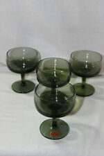 SET OF 4 GORHAM REIZART 12 OZ GREEN ACCENT CHAMPAGNE SHERBET GLASSES