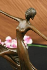 Modern Abstract Bronze Mid Century Ballerina Statue Art Dancer Signed Art Figure