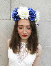 Rose Lavender Flower Hair Crown Blue White Purple Headband Large Big Garland U30