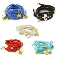 Fashion Girls Charm Multicolor Knit Shell Heart Rabbit Bracelet Clearance 80cm