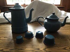 Vintage Blue Agate Enamelware Graniteware Including Coffee And Tea Pots