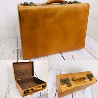 Rare Vintage American Crew Leather Tan  Suitcase Shaving Train Case Key Lock