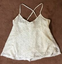 Hollister Knit Lace Racerback Strap Tanktop Medium A Line Off White New