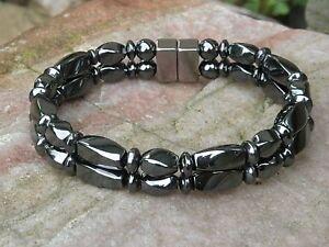 Men's Women's 100% Magnetic Hematite Bracelet Anklet 2 row Healing STRONG! AAA+