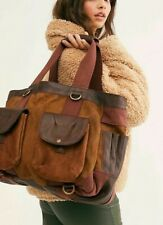 $228 NWT FREE PEOPLE DISTRESSED CONVERTIBLE BACKPACK SHOULDER BAG BROWN COMBO