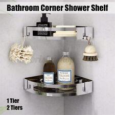 2 Tier Bathroom Corner Shower Shelf Triangle Stainless Steel Organizer Rack