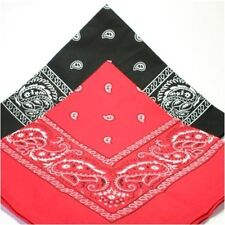 """TWO PACK RED BLACK PAISLEY  PATTERNED BANDANNA LARGE  21"""" fast post 1st class"""