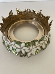 Bath & Body Works Gold Tone Cream Floral & Green Leaves 3 Wick Candle Holder New