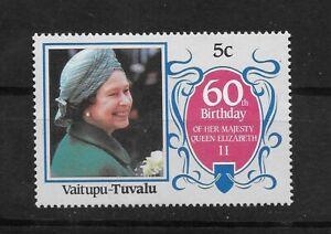 L5916 TUVALU 60 TH BIRTHDAY QUEEN ELIZABETH II
