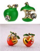 E432 Betsey Johnson Bite One Red / Green Eden Garden Apple with Gem Earrings UK