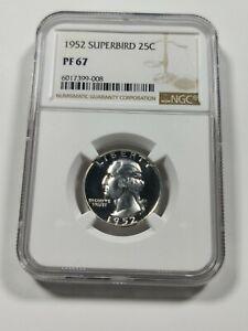 1952 NGC PR PF 67 FS-901 Superbird Washington Silver Quarter White!