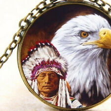 New Native American and Eagle, Pendant Necklace, Tribal, Spiritual Earth Indian