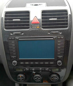 5D Gloss Carbon Fibre effect climatronic dash + air vents to fit VW Golf Mk5
