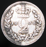 1838   Victoria Twopence   Silver   Coins   KM Coins