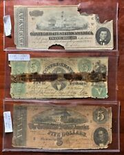 T33 1861 $5 Csa Note 1864 T69 Confederate $5 & 1864 T67 $20 Note