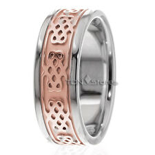 18K SOLID TWO TONE GOLD MENS CELTIC WEDDING BAND RING 8MM CELTIC WOMANS BANDS