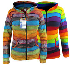 Ladies Hippie Striped Rainbow Winter Pixie Pointed Long Hood  Elf Hoodie Jacket