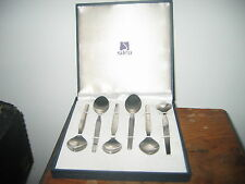 BOXED SILEA PADDED SET 6 X  STAINLESS STEEL TEA SPOONS APPROX 5INS  LONG GC