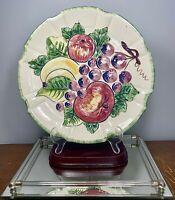 "VTG 1950's Nove Nova Rose Italy Art Pottery Hand Painted Chop Plate Platter 12"""