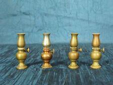 """4 Vintage Dollhouse Miniature Brass Oil Lamps Heavy Duty 1-15/16"""""""