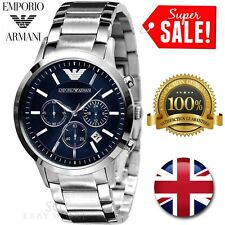 * NEW * EMPORIO ARMANI AR2448 MENS STAINLESS STEEL BLUE DIAL CHRONOGRAPH WATCH