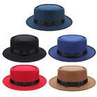 Vintage Mens Wool Felt Crushable Porkpie Round Short Brim Fedora Hat Cap Bowler