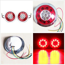 A Pair 12V 4.3'' Round 19LED Red Yellow Car Trailer Brake Stop Lights Tail Lamps
