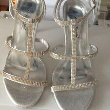 Silver diamanté embellished evening wedding prom shoes size 6 BNWOT