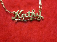 14KT GOLD EP 2MM FIGARO ANKLET OR NECKLACE WITH KATHY NAME CHARM PENDANT