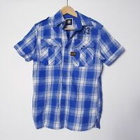 G Star Raw Mens Size S Small Blue Checked Plaid Short Sleeve Button Up Shirt