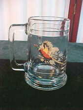 Vintage Pheasant Designed Clear Glass Weighted Handled Mug