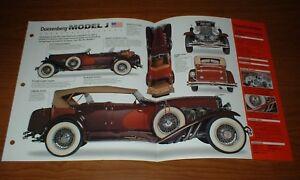 1929 DUESENBERG MODEL J ORIGINAL IMP BROCHURE 29 INFO SPECS 28 30 31 32 33 34 37