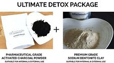 250g PHARMACEUTICAL ACTIVATED CHARCOAL POWDER + 250g  BENTONITE CLAY