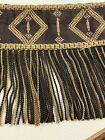 Antique Embroidered Fringed Theater Valance Heavy Fabric French Victorian Qty 2