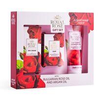 Geschenkset Royal Rose ( Duschgel, Seife Tagescreme) mit Rosenöl und Arganöl