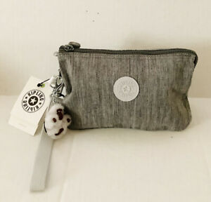 KIPLING CREATIVITY XL Nylon Pouch Clutch Wristlet Shaded Grey