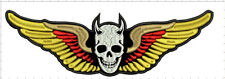 "WINGS SKULL LARGE REAPER  10""x3"" - sew on for biker vest patch, anarchy, rock A"
