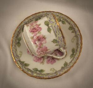 Antique Theodore Haviland Limoges Demitasse Cup & Saucer, Art Nouveau