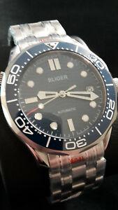 Bliger Automatik Automatic Herren Uhr Diver Saphirglas Seiko NH35A blau